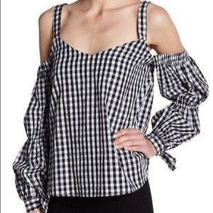 Checkered Cold-Shoulder Blouse